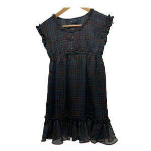 Ralph Lauren Black Green Plaid Chiffon Dress 10